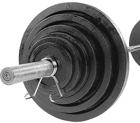 Body-Solid Body Solid Cast Olympic Plate 300lbs Set with Chrome Bar