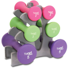 Tone Fitness 20lb Hourglass Shaped Dumbbell Set with Rack